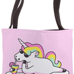 Funny Unicorn Claire Name Gift Trendy Pink Personalized Tote Bag