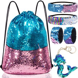 Mermaid Reversible Sequin Drawstring Backpack/Bag Blue/Pink for Kids Girls