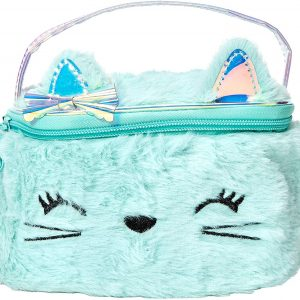Plush Kitty Makeup Bag for Girls, Mint with Holographic Accents, Small, One Pocket, Zipper Closure, Top Handle