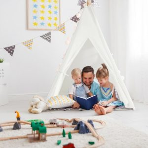 Kids tent in bedroom, family playing, white, toys.